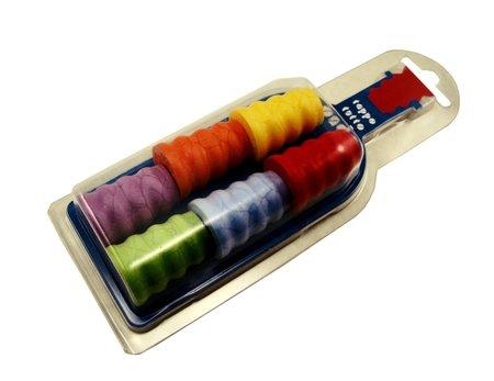 Ozdobne kolorowe korki zatyczki fale 6 szt prezent (1)